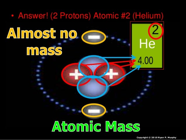 • Answer! (2 Protons) Atomic #2 (Helium) Copyright © 2010 Ryan P. Murphy