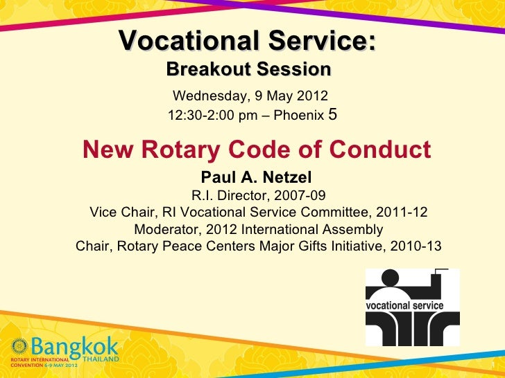 Vocational Service:              Breakout Session               Wednesday, 9 May 2012              12:30-2:00 pm – Phoenix...