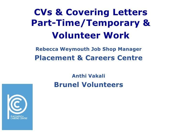 Write a CV for part time jobs