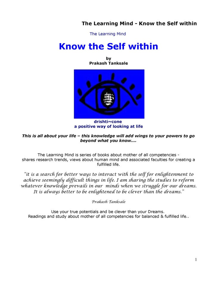 The Learning Mind - Know the Self within                                    The Learning Mind                     Know the...