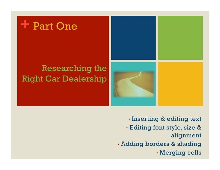 + Part One       Researching the Right Car Dealership                               •  Inserting   & editing text         ...