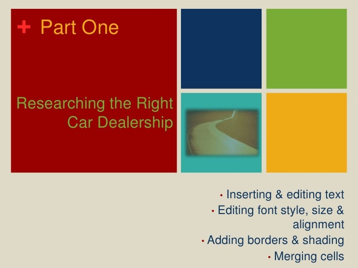 Part One<br />Researching the Right Car Dealership<br /><ul><li> Inserting & editing text