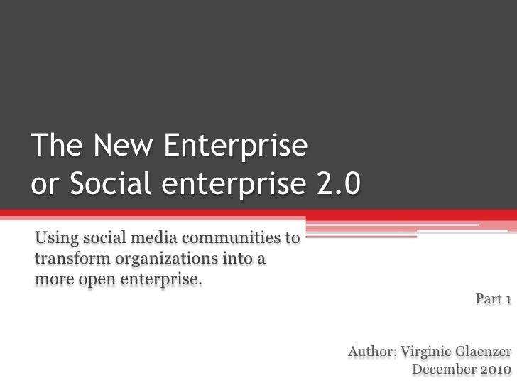 Part 1 Social Entreprise 2.0 By V Glaenzer