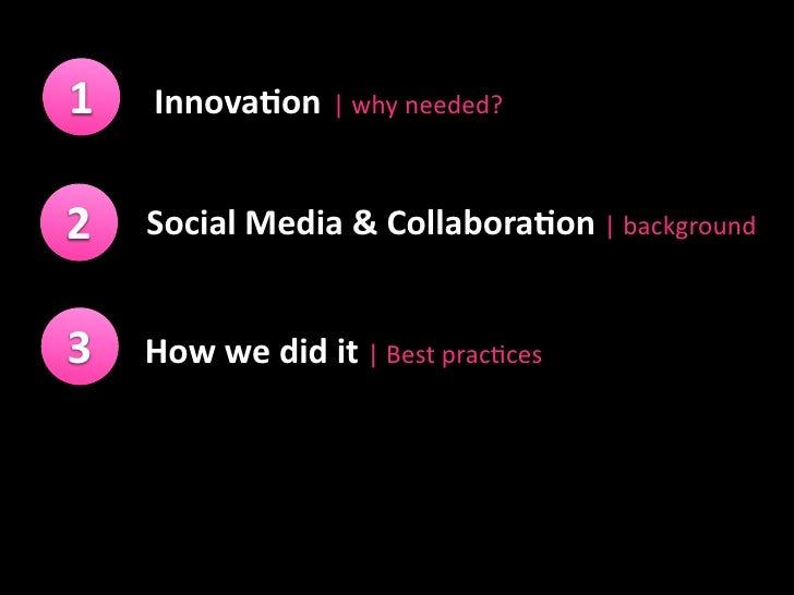 1   Innova&on whyneeded?   2   SocialMedia&Collabora&on background   3   Howwedidit Bestprac6ces