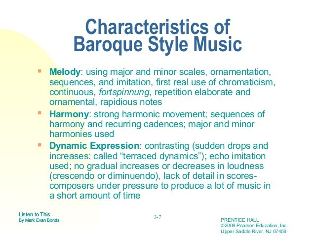 Baroque style qualities for Characteristics of baroque period