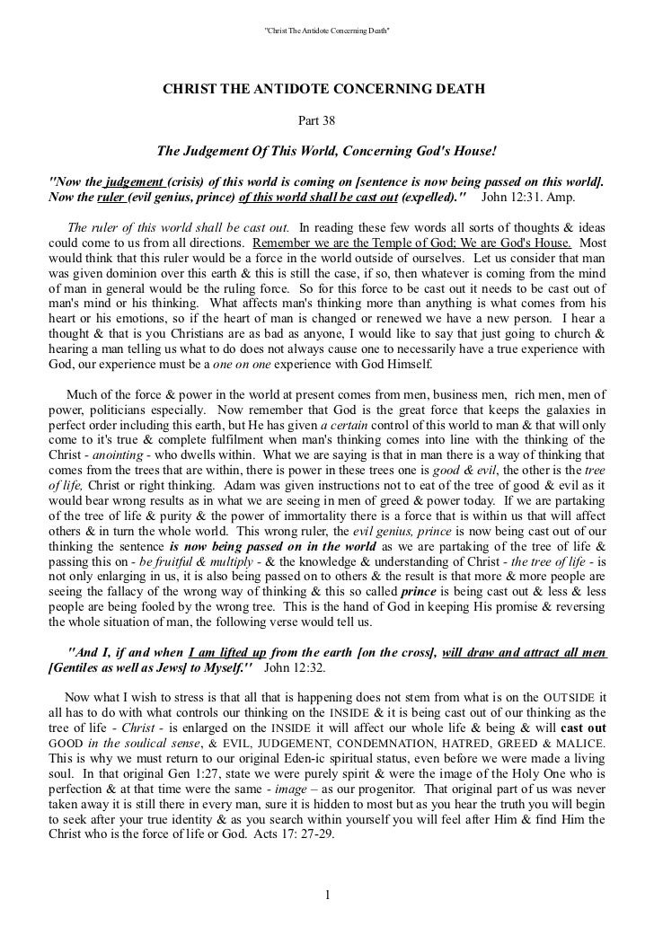 Part 38 ''The Judgement of this World Concerning  God's House.''