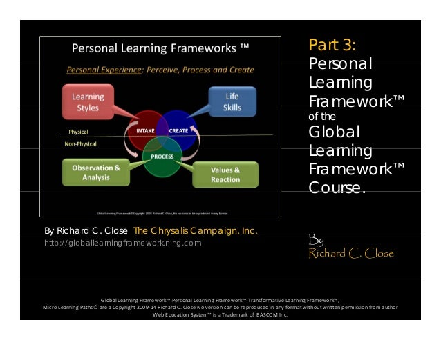 Part 3: PersonalPersonal Learning Framework™Framework of the Global LearningLearning Framework™ Course By Richard C. Close...