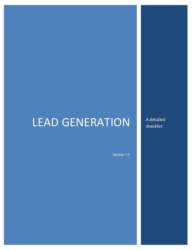 LEAD GENERATION Version 1.0  A detailed checklist
