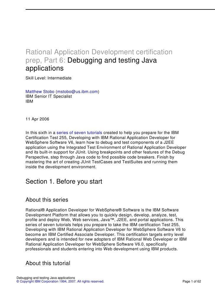 Part 6 debugging and testing java applications