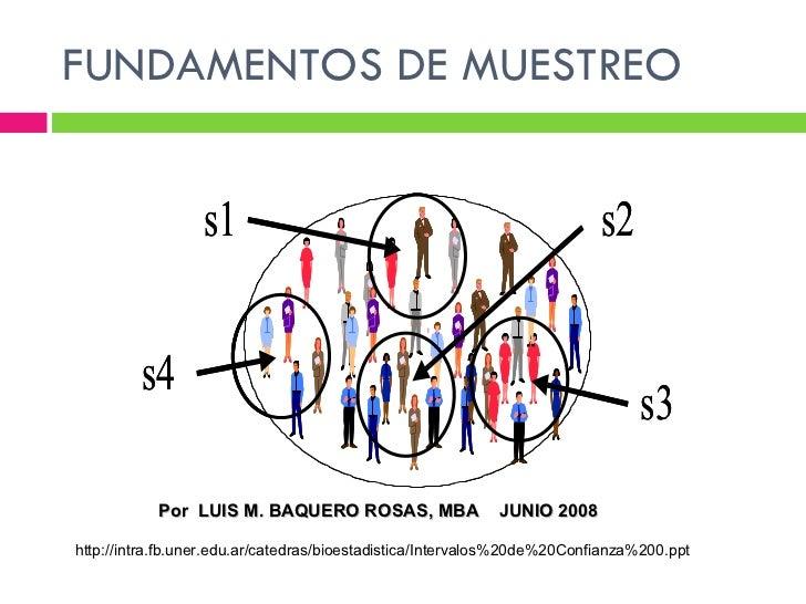 FUNDAMENTOS DE MUESTREO http://intra.fb.uner.edu.ar/catedras/bioestadistica/Intervalos%20de%20Confianza%200.ppt Por  LUIS ...