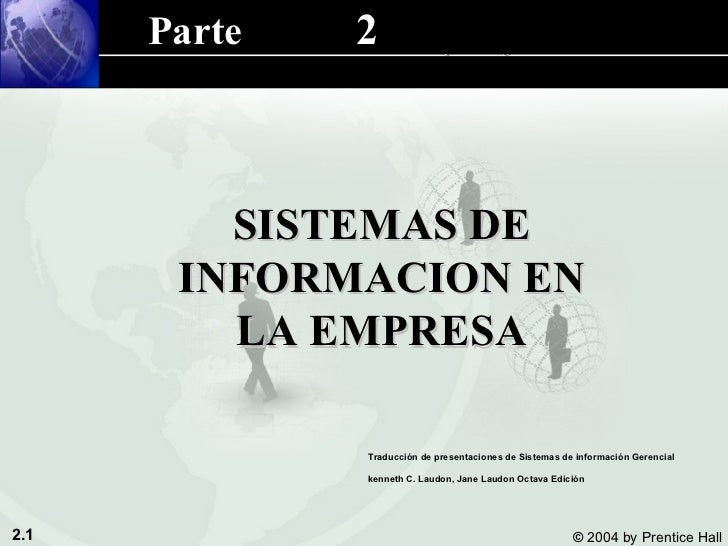 SISTEMAS DE INFORMACION EN LA EMPRESA 2 Parte  Traducción de presentaciones de Sistemas de información Gerencial kenneth C...