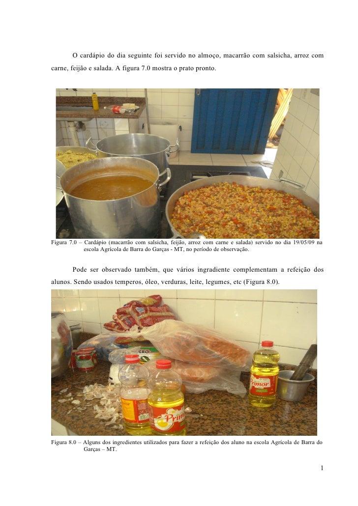 O cardápio do dia seguinte foi servido no almoço, macarrão com salsicha, arroz com carne, feijão e salada. A figura 7.0 mo...