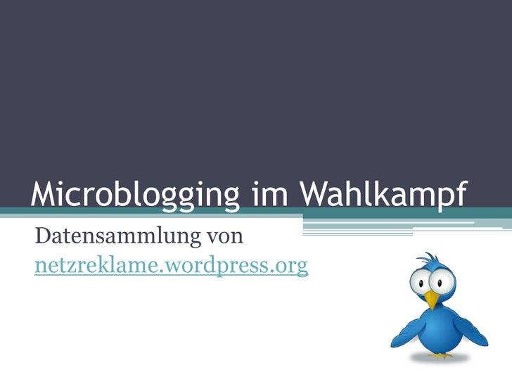 Microblogging im Wahlkampf<br />Datensammlung von<br />netzreklame.wordpress.org<br />
