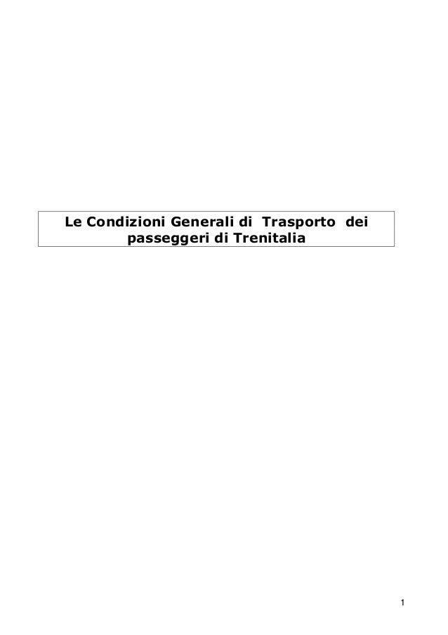 Le Condizioni Generali di Trasporto dei passeggeri di Trenitalia  1