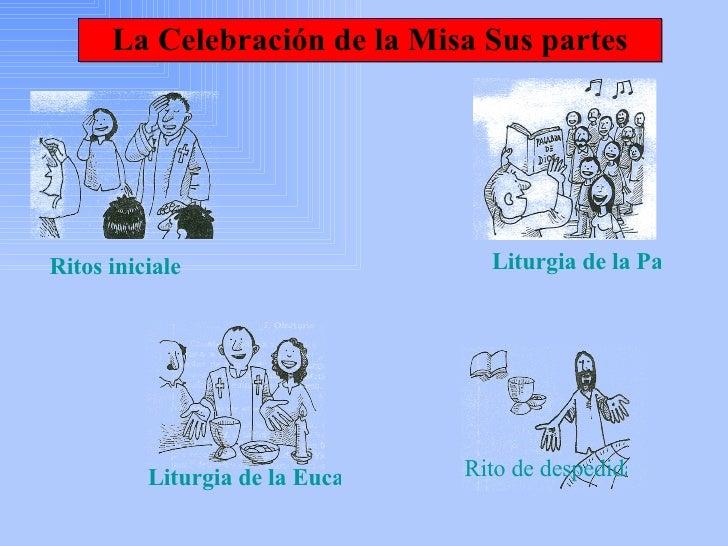 La Celebración de la Misa Sus partes Ritos iniciales    Liturgia de la Palabra   Liturgia de la Eucaristía Rito de despedida