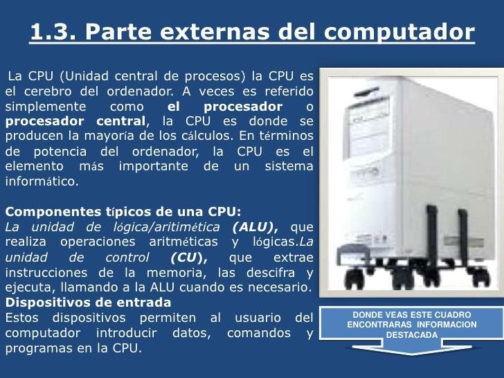 1.3. Parte externas del computador <br />La CPU (Unidad central de procesos) la CPU es el cerebro del ordenador. A veces e...