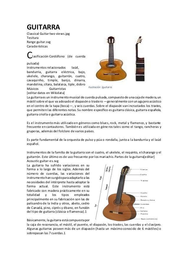 GUITARRA Classical Guitar two views.jpg Tesitura Range guitar.svg Características Clasificación Cordófono (de cuerda pulsa...