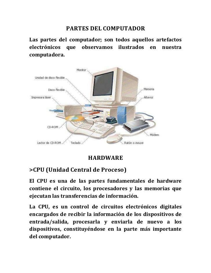 PARTES DEL COMPUTADOR<br />Las partes del computador; son todos aquellos artefactos electrónicos que observamos ilustrados...