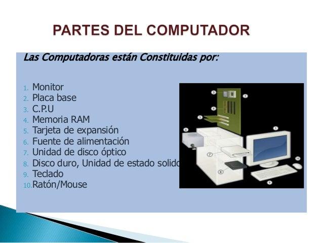 Las Computadoras están Constituidas por: Monitor 2. Placa base 3. C.P.U 4. Memoria RAM 5. Tarjeta de expansión 6. Fuente d...