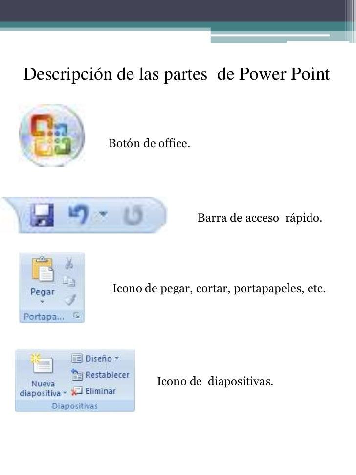 Descripción de las partes  de Power Point<br />Botón de office.<br />Barra de acceso  rápido.<br />Icono de pegar, cortar,...