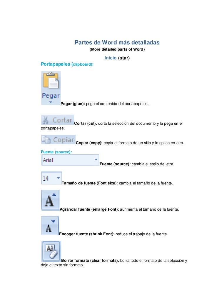 Partes de Word más detalladas<br />(More detailed parts of Word)<br />Inicio (star)<br />Portapapeles (clipboard):<br />Pe...
