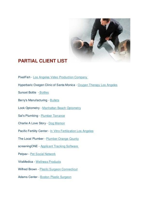 PARTIAL CLIENT LIST PixelFish - Los Angeles Video Production Company Hyperbaric Oxegen Clinic of Santa Monica - Oxygen The...