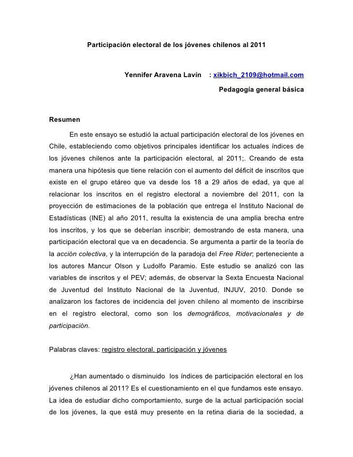 Participación electoral de los jóvenes chilenos al 2011                         Yennifer Aravena Lavín       : xikbich_210...
