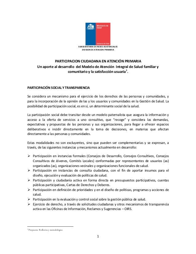 1 SUBSECRETARIA DE REDES ASISTENCIALES DIVISION DE ATENCION PRIMARIA PARTICIPACION CIUDADANA EN ATENCIÓN PRIMARIA Un aport...