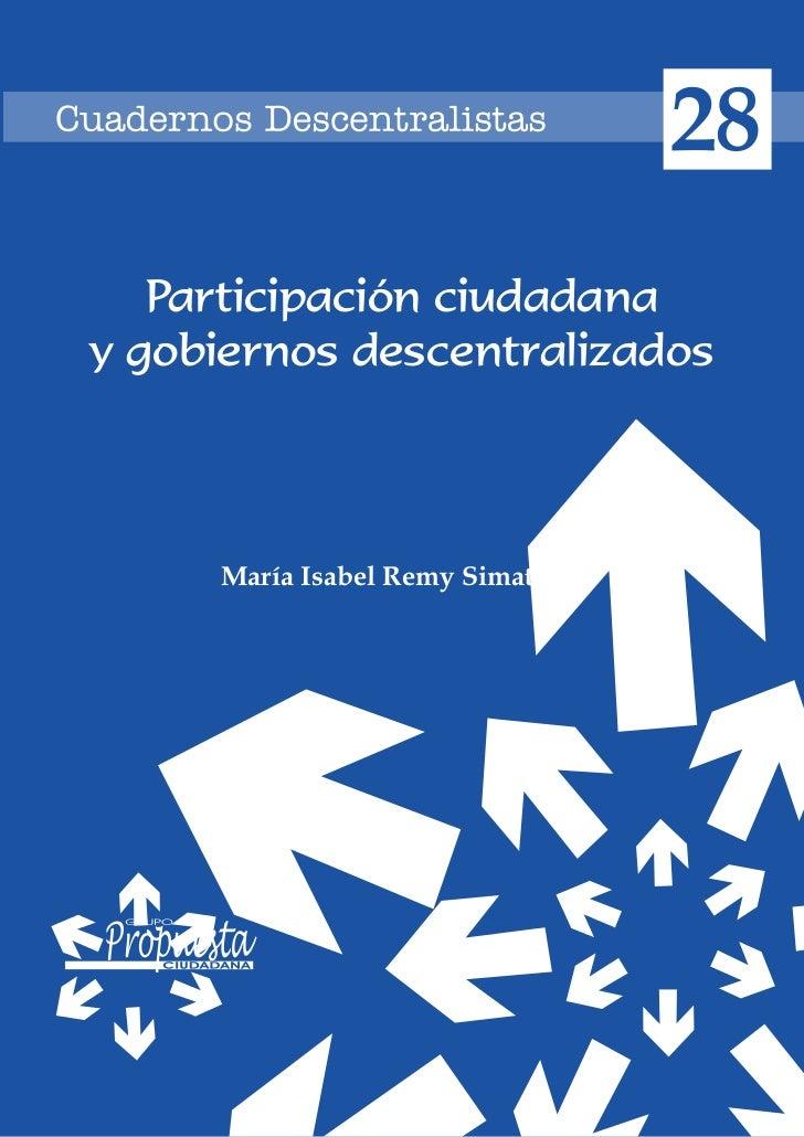Participación ciudadana y gobiernos descentralizados