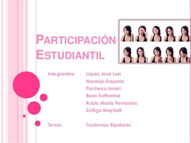 PARTICIPACIÓN ESTUDIANTIL Integrantes:  López José Luis Naranjo Dayana  Pacheco Israel Razo Katherine Rubio María Fernanda...