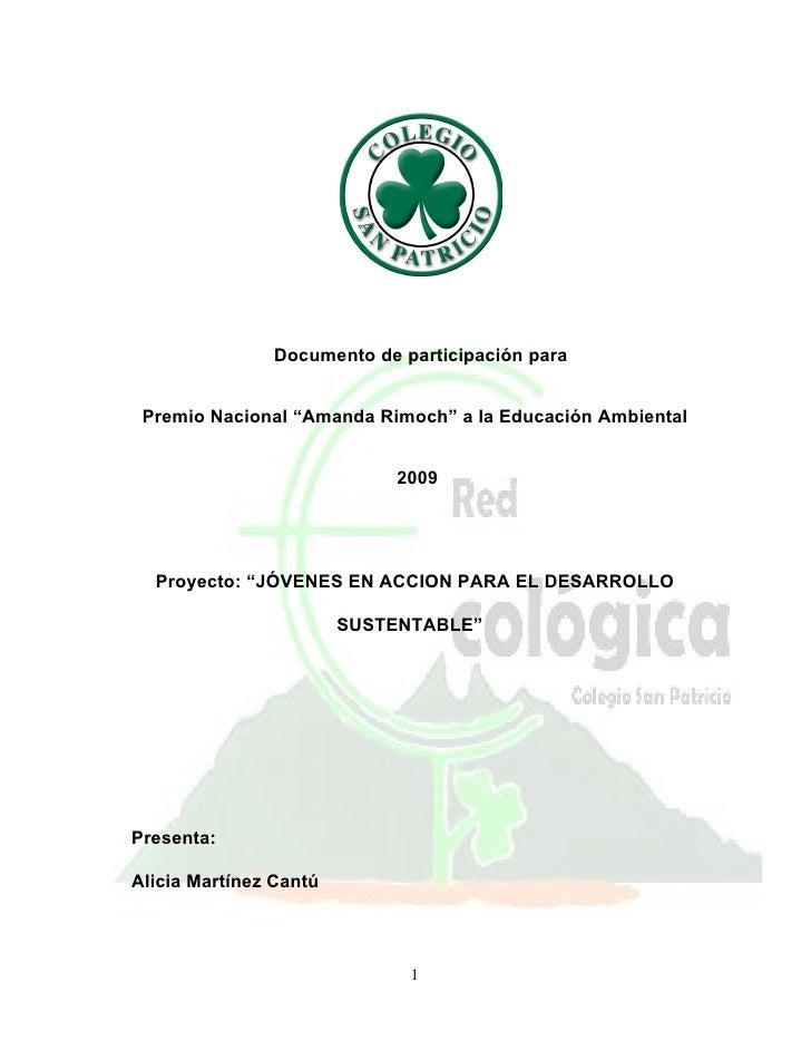"""Documento de participación para    Premio Nacional """"Amanda Rimoch"""" a la Educación Ambiental                               ..."""
