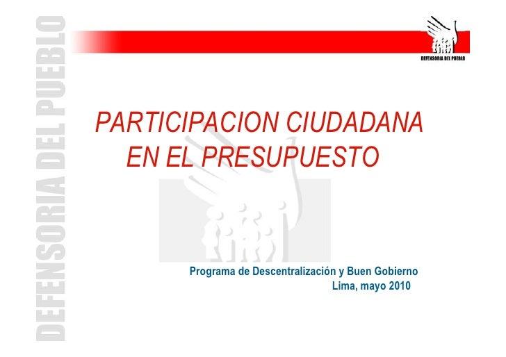 Exposición: Presupuesto Participativo 2011 - Participacion Ciudadana