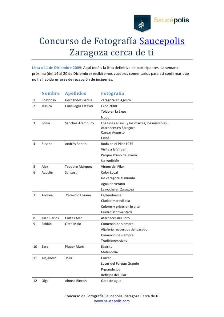 Participantes Concurso Fotografia Zaragoza Cerca De Ti