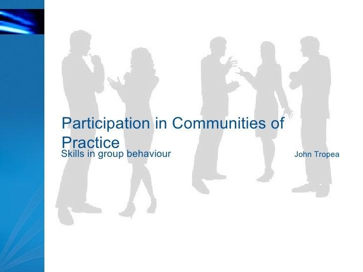 Participation In CoPs
