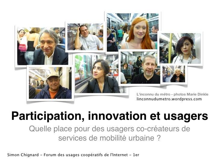 [Infomobilité] Mobilite urbaine 2.0 : participation, innovation et usagers