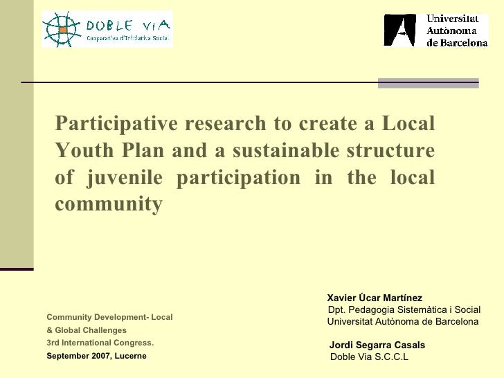 Participative research to create a Local Youth Plan and a sustainable structure of juvenile participation in the local com...