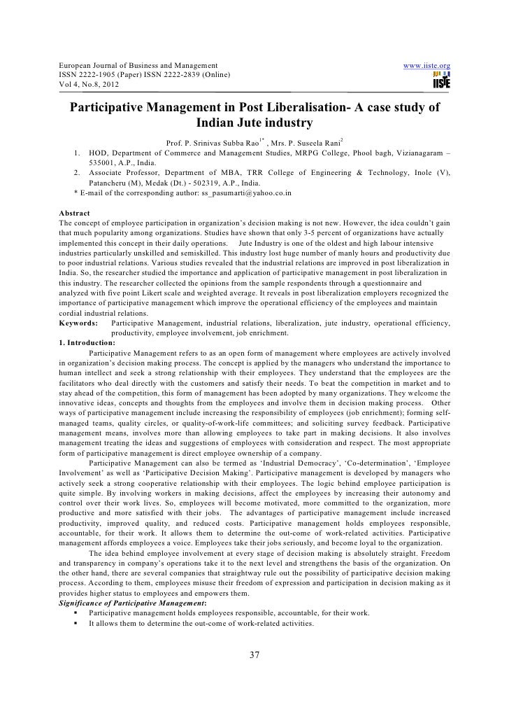 Participative management in post liberalisation  a case study of indian jute industry