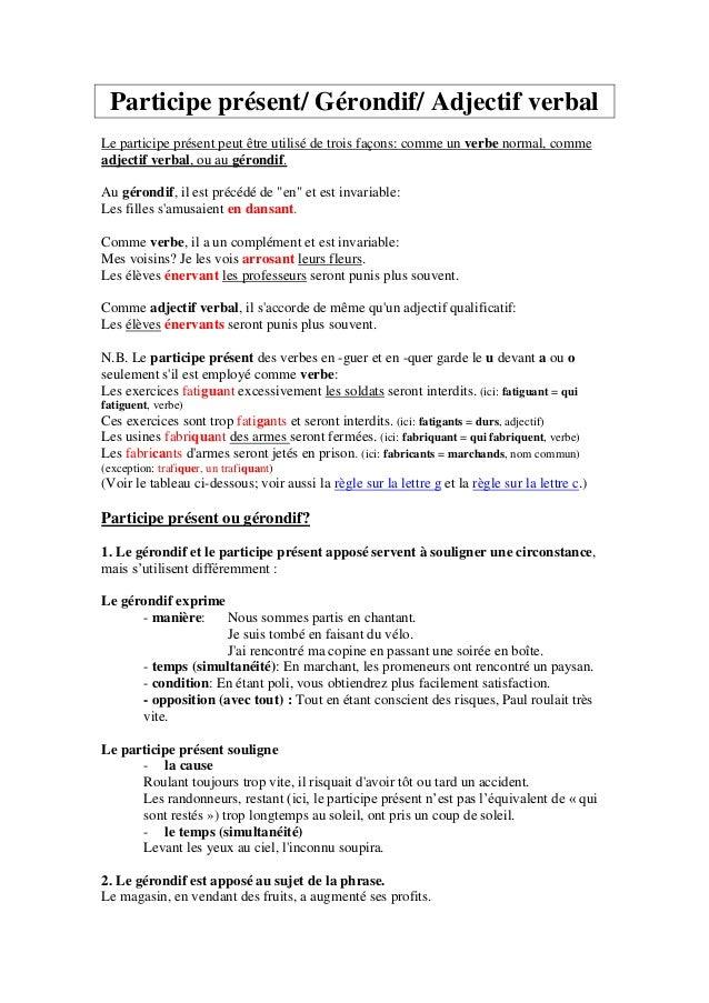 Participe présent/ Gérondif/ Adjectif verbal Le participe présent peut être utilisé de trois façons: comme un verbe normal...