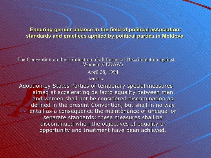 Ensuring gender balance in the field of political association: standards and practices applied by political parties in Mol...