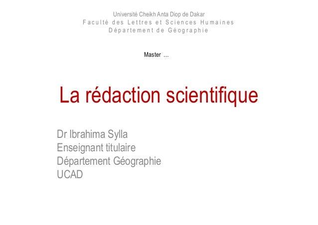 Université Cheikh Anta Diop de Dakar F a c u l t é d e s L e t t r e s e t S c i e n c e s H u m a i n e s D é p a r t e m...