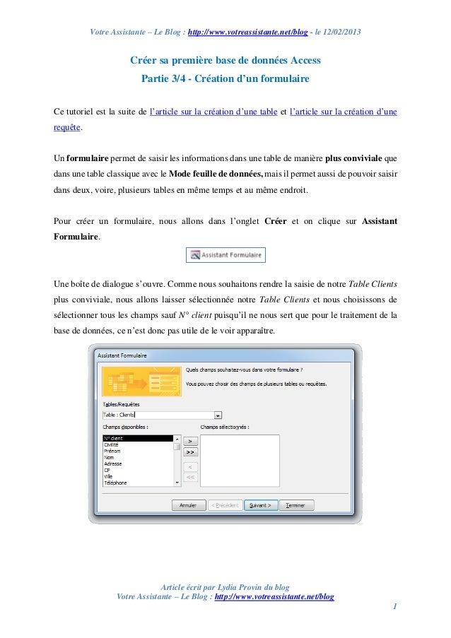 Créer sa première base de données Access – Partie 3/4 – Création d'un formulaire