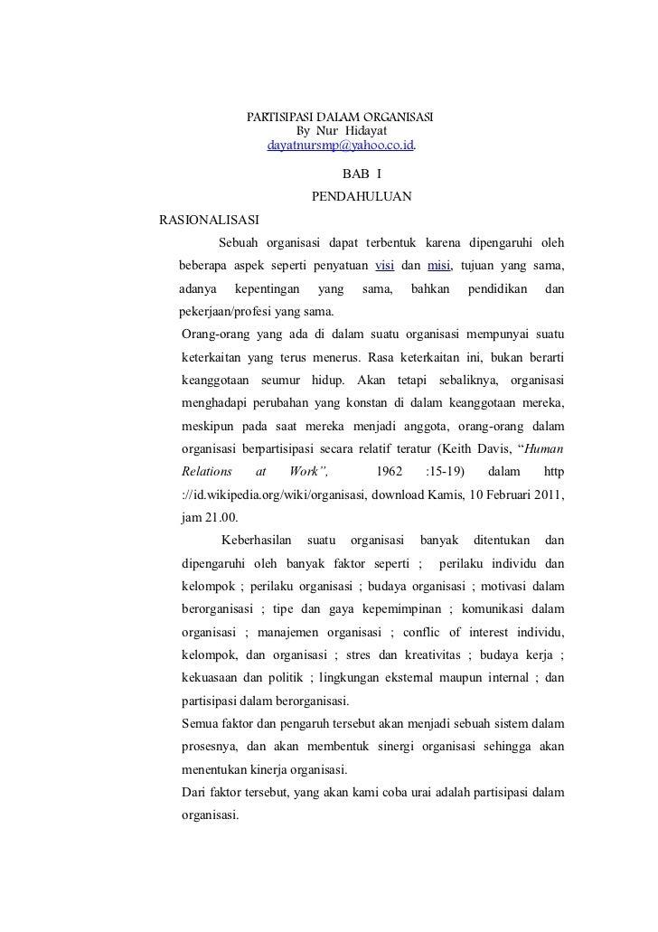 PARTISIPASI DALAM ORGANISASI                        By Nur Hidayat                   dayatnursmp@yahoo.co.id.             ...