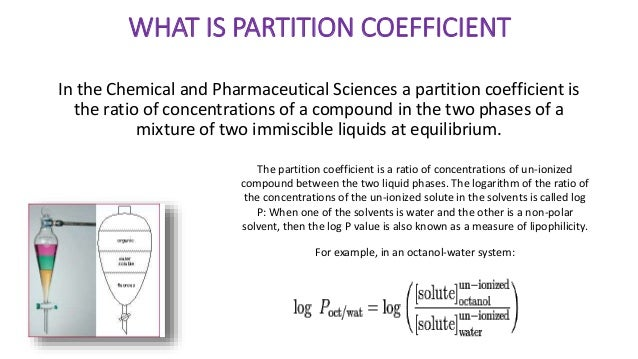determination of partition coefficient Determination of the partition coefficient n-octanol/water the partition coefficient  (pow) is defined as the ratio of the equilibrium concentrations of a dissolved.