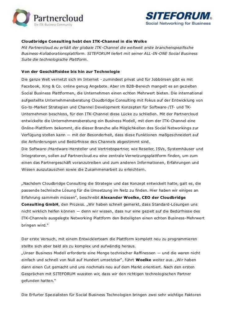Cloudbridge Consulting hebt den ITK-Channel in die WolkeMit Partnercloud.eu erhält der globale ITK-Channel die weltweit er...
