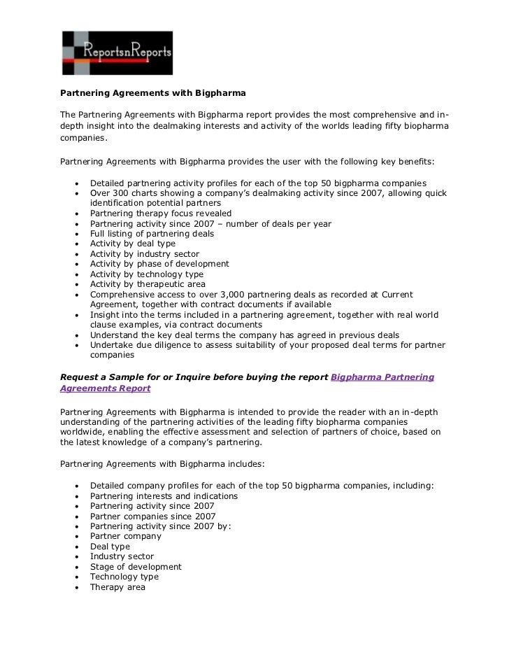 Partnering Agreements with BigpharmaThe Partnering Agreements with Bigpharma report provides the most comprehensive and in...