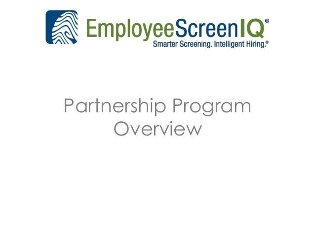 EmployeeScreenIQ Partnership Program Overview