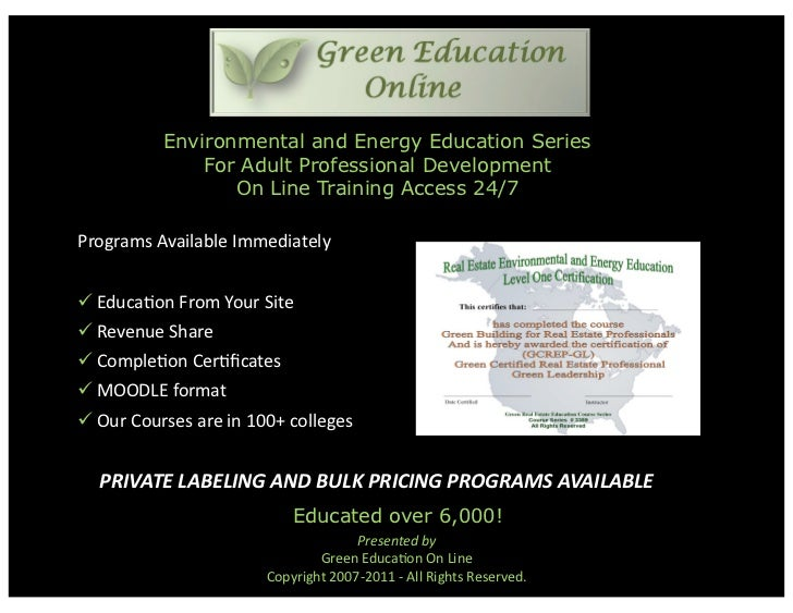 Environmental and Energy Education Series              For Adult Professional Development                 On Line Training...
