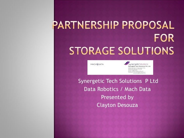 Synergetic Tech Solutions  P Ltd  Data Robotics / Mach Data  Presented by  Clayton Desouza