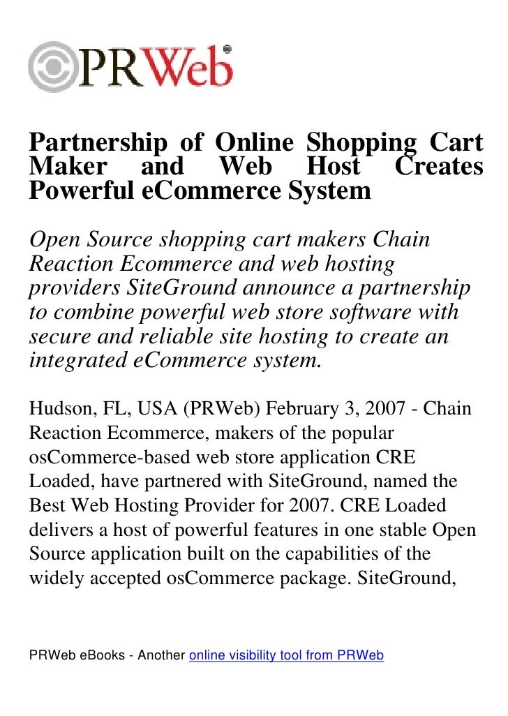 Partnership of Online Shopping Cart Maker and Web Host Creates Powerful eCommerce System Open Source shopping cart makers ...