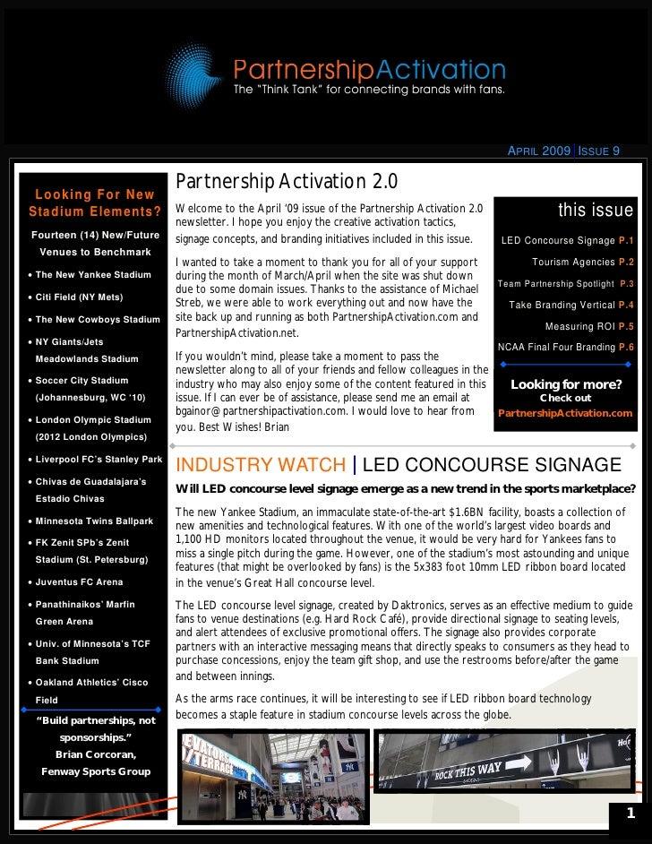 Partnership Activation 2.0 Newsletter - April 2009